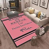 ラグ 洗える ラグマットガールズルームファッショト 北欧 マイクロファイバープラスチック底 絨毯 ビンテージ,Pink,200x300cm