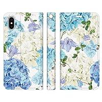 Ruuu ベルトなし iPhone8 iPhone7 iPhone6s 兼用 手帳型 スマートフォン スマホ ケース カバー 紫陽花 ボタニカル ブルー 花柄 あじさい はな 蝶々 フラワー ブーケ