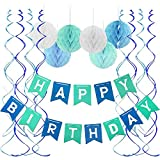 FECEDY Blue Happy Birthday Banner Honeycomb Balls Swirls Streamers for Birthday Party Decorations