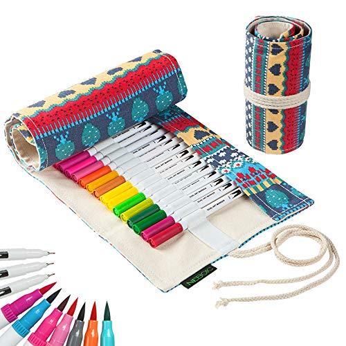 水性ペン 筆ペン カラーペンセット36色 筆ペンカラー 細字と太字両用 ペンケース帆布製付き 水彩 筆 マーカーペン 塗り絵 絵画 美術 漫画 落書用
