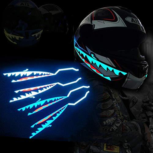 ヘルメットステッカー ナイトライド バイクヘルメット 信号点滅ストライプバー ステッカー バイク 防水 (アイスブルー)