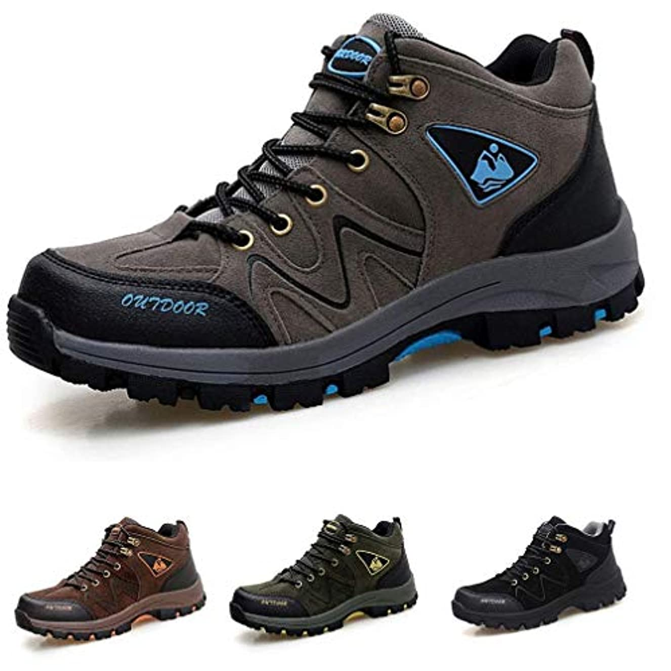 知的の中で不安定[RDGO] メンズ ハイキングシューズ トレッキングブーツ 登山靴 アウトドアシューズ 防滑 牛革 ローカット ウォーキングシューズ 防水 大きいサイズ 幅広 スニーカー