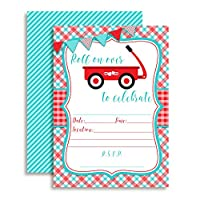 Little Red Waggon Boy Birthday Party Invitations, Ten 13cm x 18cm Fill In Cards with 10 White Envelopes by AmandaCreation
