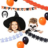 EverKid Happy Halloween Party Decoration Set 1 Banner 3 Garlands 10 Balloons [並行輸入品]