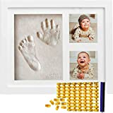 Baby Handprint Kit & Footprint Kit (FREE Date & Name Stamp) Clay Picture Frame for Newborn - Hand Impression Photo Keepsake - Best Shower Gifts Set for Girls and Boys - Unique White Foot Print No Mold