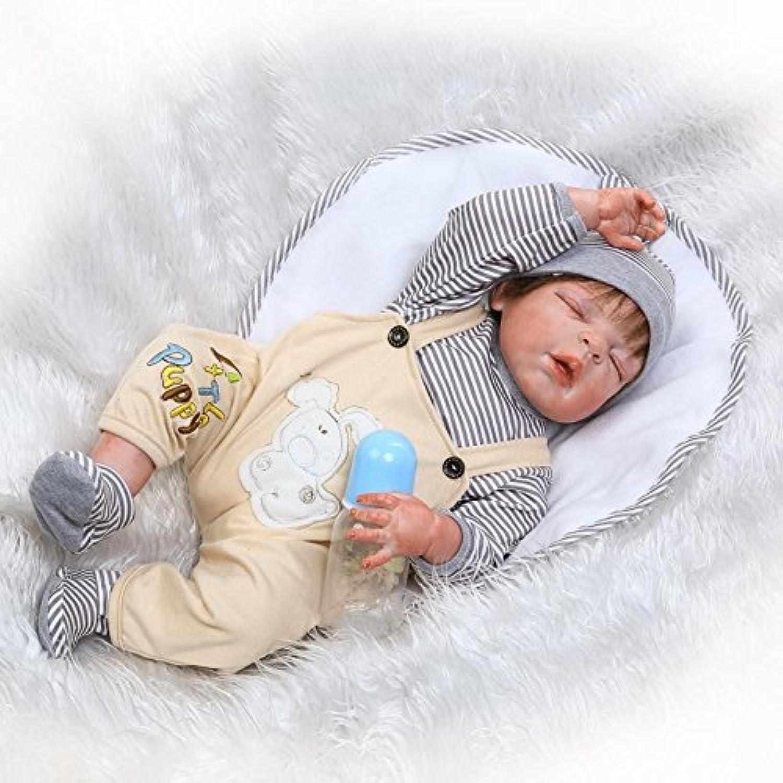 リアルな22インチ56 cm Reborn新生児赤ちゃん人形フルボディシリコンビニールClosed Eyes Baby Boy Doll