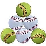 WOWMAX Toy 野球用ぬいぐるみ ふわふわ スポーツボール 柔らか 丈夫 スポーツおもちゃ ギフト 子供用 3インチ グリーンとホワイト 6個セット