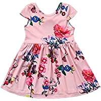 KONIGHT Kids Toddler Baby Girl Summer Clothes Floral Print Bowknot Princess Party Pageant Dress Outfit With Bows (Pink 6-7Years)
