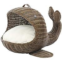 サンフラワーラタン アニマルバスケット クジラ ブラウン 幅47×奥行き57×高さ39cm ペット用ベッド GK602MK