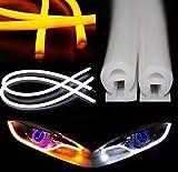OUGUAN LEDヘッドライト チューブライト 30cm シリコン 2本セット ホワイト/アンバー 切り替え ウィンカー対応 LEDシリコンチューブライト