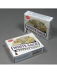 Hemホワイトセージ香Dhoop Cones、10円錐のペアボックス