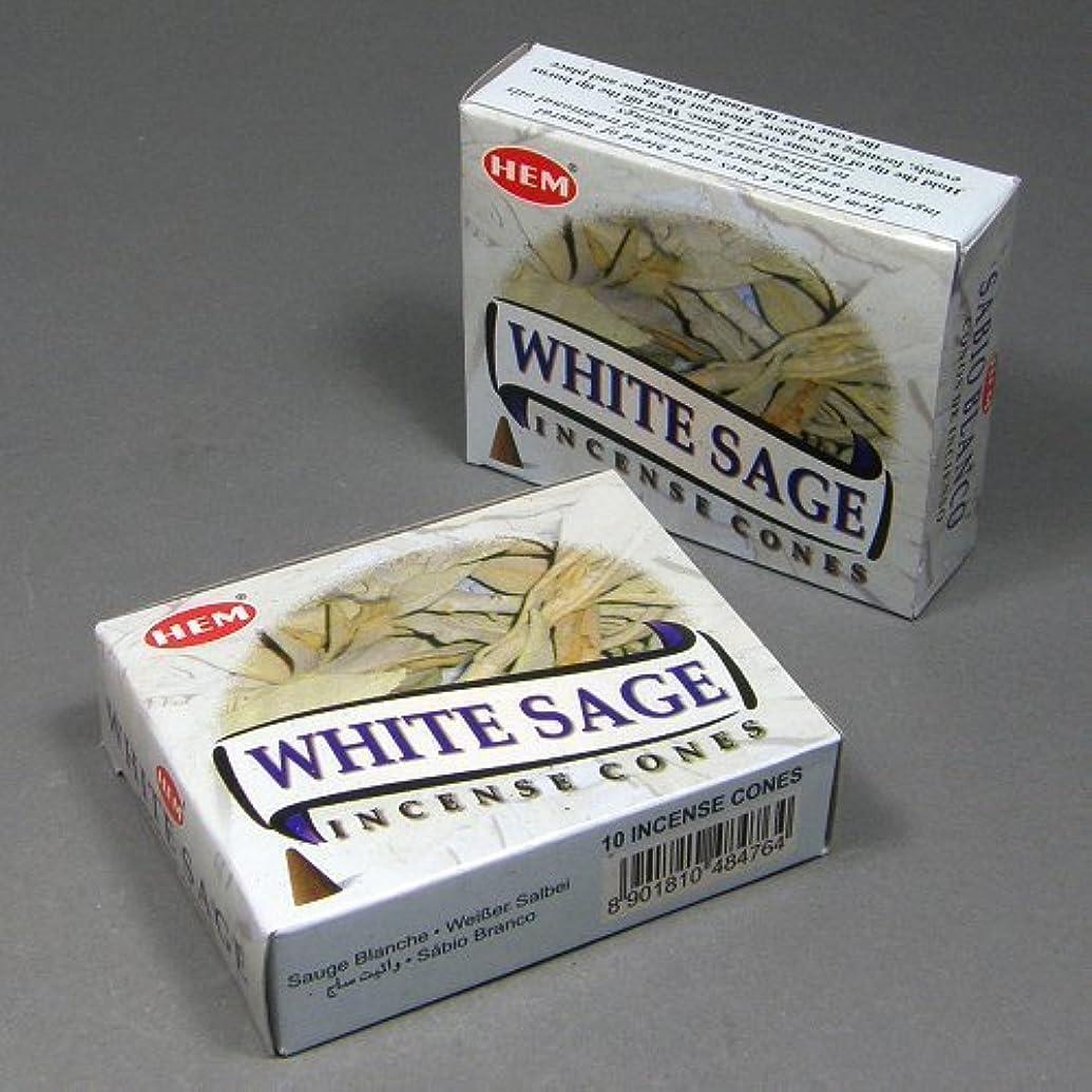 経済的情緒的筋Hemホワイトセージ香Dhoop Cones、10円錐のペアボックス