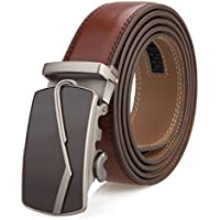 Men's Belt, Slide Ratchet Belt for Men with Genuine Leather 1 3/8,Trim to Fit