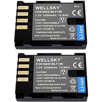 [WELLSKY] [ 2個セット ] Panasonic パナソニック DMW-BLF19 互換バッテリー [ 純正充電器で充電可能 残量表示可能 純正品と同じよう使用可能 ] LUMIX ルミックス DMC-GH3 / DMC-GH3A / DMC-GH3H / DMC-GH4 / DMC-GH4 / DC-GH5 / DC-GH5s / DC-G9 / DC-GH5-K / DC-GH5M-K / DMW-BGGH3 / DMW-BGGH5