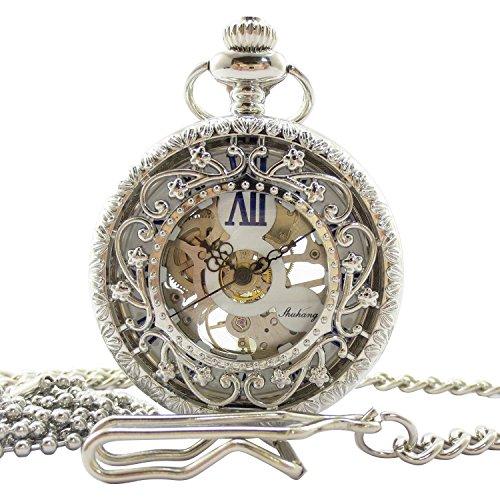 手巻き式 懐中時計 フックチェーン + ボールチェーン/ 革紐 + 化粧箱 セット (シルバー)