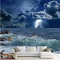 Ljjlm カスタム写真の壁紙3Dオーシャンウェーブライトニングダーククラウド風景壁画壁紙リビングルームベッドルーム3D-420X280cm