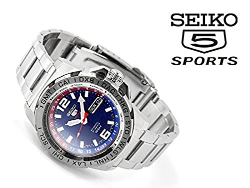 [セイコー] 日本製 SEIKO5 SPORTS セイコー5スポーツ GMT機能付きベゼル 手巻き付き機械式 メンズ腕時計 ブルー×レッドダイアル シルバー ステンレスベルト SRP681J1 [並行輸入品]