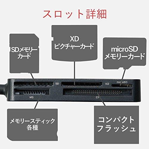 『エレコム カードリーダー USB3.0 9倍速転送 スリムコネクタ ケーブル一体タイプ ブラック MR3-A006BK』の6枚目の画像
