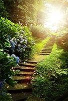 CSFOTO 5×7フィート 背景 山 階段 階段 森の公園 階段 ケース 写真 背景 明るい青 花 緑 夏 春 バケーション ツアー 写真 スタジオ小道具 ポリエステル 壁紙