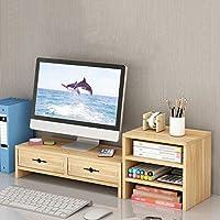 木の モニター台 ノートパソコン用モニタースタンド 防水 厚くする 引き出し付き デスクトップ 高まり キーボード デスクトップ 保管 にとって 家族 事務所-L