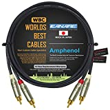 4.5 Foot RCA Cable Pair - Made with Canare L-4E6S, Star Quad, Audio Interconnect Cable and Amphenol ACPR Gold RCA Connectors – Directional Design - Custom Made by WORLDS BEST CABLES