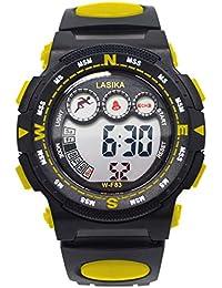 子供用腕時計 キッズ多機能スポーツ腕時計 防水 アラーム付き 目覚まし時計 デジタル表示 ledライト付き 時報 アウトドアボーイズ時計 男女兼用イエロー