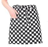 11 エプロン 腰丈 腰 シンプル ショート丈 レディース 女性 子供 かわいい 保育士 (黒白グリット02)