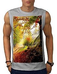 Wellcoda 森林 木 秋 自然 男性用 S-5XL 袖なしTシャツ