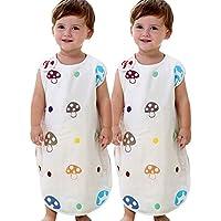 赤ちゃん スリーパー 6重ガーゼ 高級コットン 100% 主婦が選んだ 柔らか キッ睡衣 寝冷え防止 二着セット(60-80cm 新生児から3歳) (S, D)