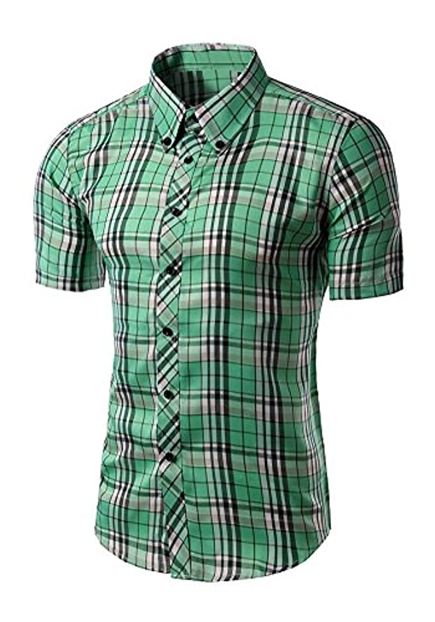 感心する精通した電子メンズ格子半袖シャツ修身シャツカジュアルブランドメンズシャツ職業男装 (緑, L)