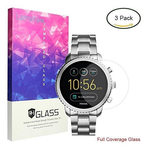 Lamshaw Fossil Q Explorist 保護フィルム, 9H ガラスフィルム カバー 対応 FOSSIL 腕時計 Q EXPLORIST (3枚)