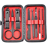Artibetter Manicure Set Nail File Nail Clipper Scissors Stainless Steel Pedicure Tool for Adults Men Women Portable Toe Finger Trimmer with Case Storage Black 8pcs