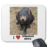 Recaso(レカソ)私はタスマニアンデビルを愛しますマウスパッド 敷き おしゃれ オフィス用 滑り止め 水洗い可能 優れた耐久性 天然ゴム+高品質な布 22x18cm