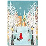 ポストカード 雪の街角 冬の絵葉書
