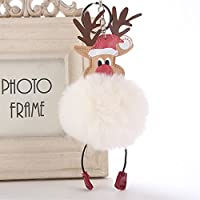 Dalino ファッションとパーソナリティ PUレザー クリスマストナカイフラシ天ボールキーチェーンペンダント プラッシュドール キーリング キーチェーン (ベージュ)