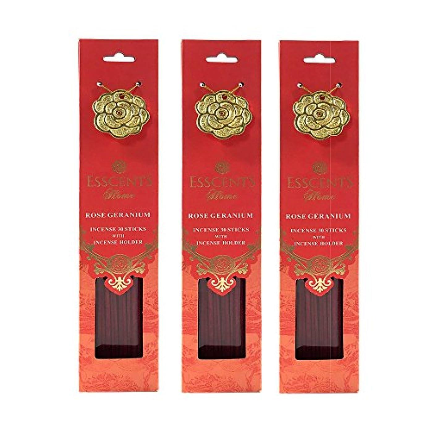 口頭要旨占めるEsscentsホーム90 SticksプレミアムIncense 3メタルIncenseホルダー付き – ローズゼラニウム