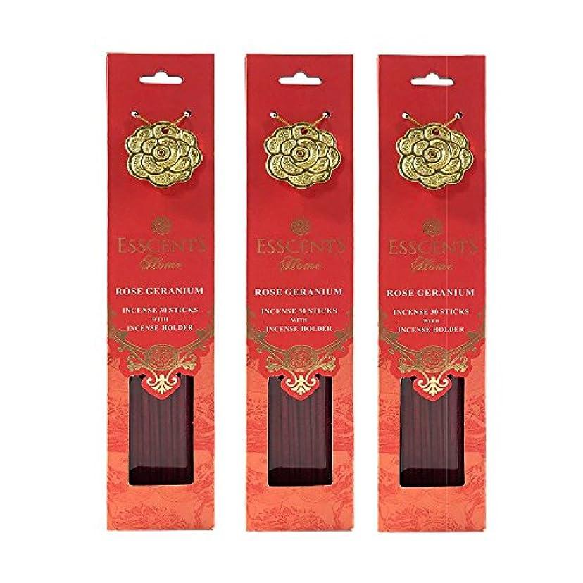 素晴らしいですきれいに任命するEsscentsホーム90 SticksプレミアムIncense 3メタルIncenseホルダー付き – ローズゼラニウム