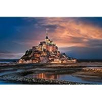 芸術はポスターを印刷します - モンサンミッシェルの島の要塞 - キャンバスアートプリントポスター - 75cmx50cm