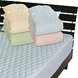 メーカー直販 ベッドパッドのいらないベッド用ボックスシーツ 綿平織り一体型 シングル 100×200×30cm ブルー