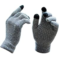 women touch screen gloves Winter Warm thick gloves for indoor and outdoor anti-slip design,soft and comfortable for driving and riding(Gray)