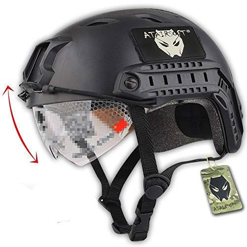 ATAIRSOFT Fast BJタイプ タクティカル アウトドア エアソフトヘルメット 米軍風 多機能サバゲーヘルメット ゴーグル付き NVGマウントレール付き ABS製 戦術ヘルメット (ブラック)