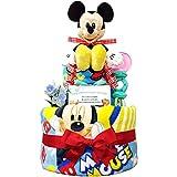 出産祝いに大人気! ディズニー ミッキーのおむつケーキ/赤ちゃんの内祝い・誕生日プレゼント ギフトセット ダイパーケーキ/男の子 (パンパースM18 (1歳のお誕生日プレゼント用に))