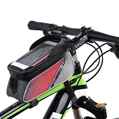 サドルバッグ フレームバッグ 自転車フロントバッグ 自転車用マウントケース大容量 防水カバー付き携帯対応