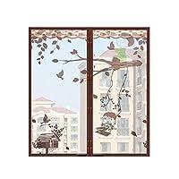 窓 スクリーン 蚊帳 マジックテープ付き,網戸カーテン マグネット付き簡単網戸 マグネットカーテン -H-80×100センチメートル(31×39インチ)