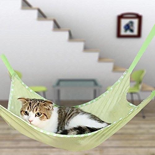 夏 ニャンモック キャットハンモック 猫ちゃん 遊び場と寝床兼用 取り付け簡単 通気性抜群 (L, グリーン)