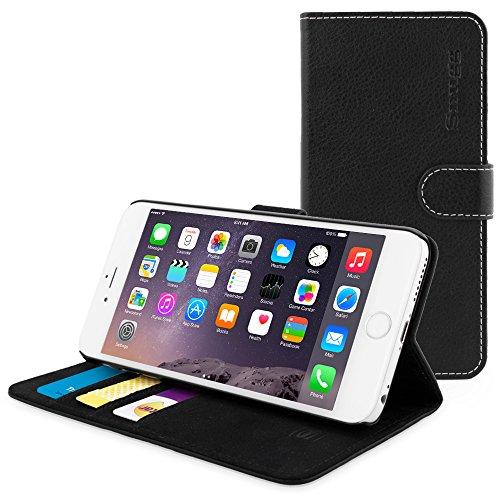 英国Snugg製 iPhone 6s Plus用 PUレザー手帳型ケース 生涯補償付き(ブラック)
