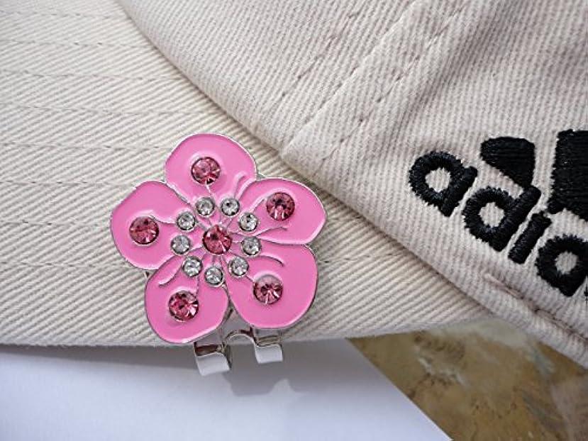 ホバーまぶしさ有名なForget Me Not Pink Flower with Crystals and Magnetic Hat Clip