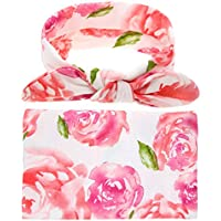 DRESHOW Newborn Floral Swaddle Receiving Blanket with Headbands Hats Sleepsack Toddler Warm Baby Shower Gift(Pack 1, 3) (Doughnut with Headbands)