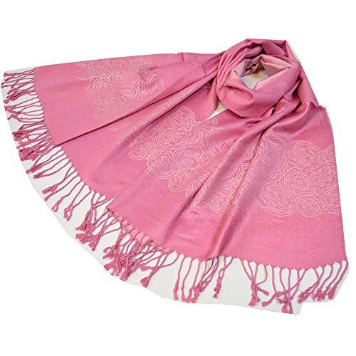 パシュミナ 素敵なローズ花柄 刺繍入り リバーシブル パシュミナストール (紅桜)