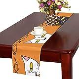 GGSXD テーブルランナー すばしこい オレンジ色猫 クロス 食卓カバー 麻綿製 欧米 おしゃれ 16 Inch X 72 Inch (40cm X 182cm) キッチン ダイニング ホーム デコレーション モダン リビング 洗える